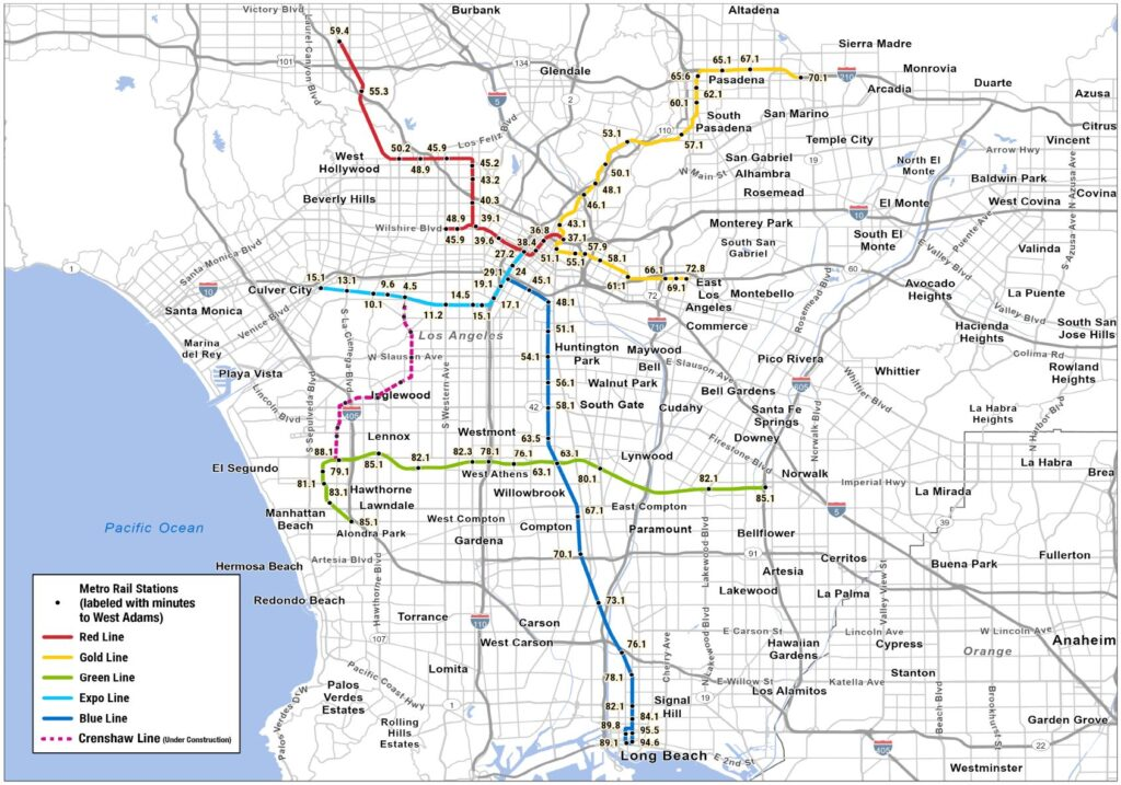 Los Angeles current and proposed metro lines map