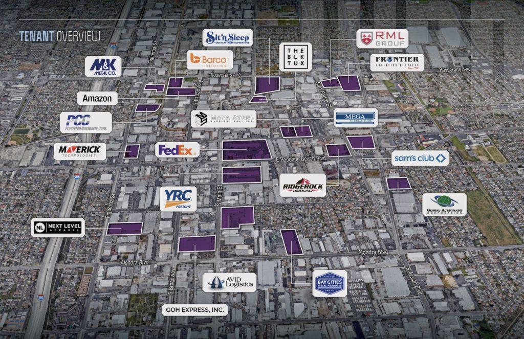 West Rancho Dominguez map of major tenants